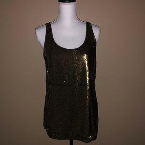 Ann Taylor Scoop Neck Sequin Bronze/BrownTank Top